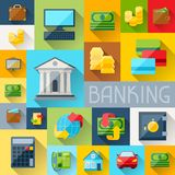 Background with banking icons in flat design style.  Stock Photos