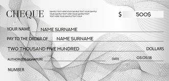 Cheque Check template, Chequebook template. Bank cheque with guilloche pattern and business abstract watermark. Royalty Free Stock Photos