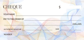 Cheque Check template, Chequebook template. Blank bank cheque with guilloche pattern and business abstract watermark. Royalty Free Stock Photo