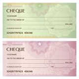 Check cheque, Chequebook template. Guilloche pattern with watermark, spirograph Stock Photo