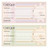 Check cheque, Chequebook template. Guilloche pattern with watermark, spirograph stock image