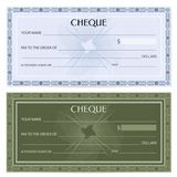 Check cheque, Chequebook template. Guilloche pattern with watermark, spirograph Stock Photography