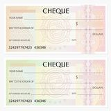 Check cheque, Chequebook template. Guilloche pattern with watermark, spirograph royalty free stock photography