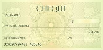 Check cheque, Chequebook template. Guilloche pattern with watermark, spirograph Royalty Free Stock Images