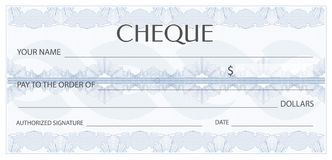 Check cheque, Chequebook template. Guilloche pattern with watermark, spirograph Royalty Free Stock Photos
