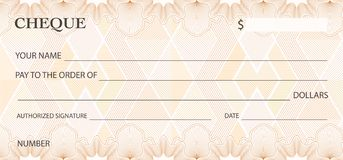 Check cheque, Chequebook template. Guilloche pattern with abstract watermark Stock Illustration