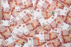 Banknotes five thousand rubles. Background. Banknotes five thousand rubles close up Royalty Free Stock Images