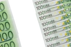 Background of banknotes in nominal value of one hundred euros. P stock photography