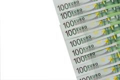 Background of banknotes in nominal value of one hundred euros. P. Background of banknotes in nominal value of one hundred euros. Copy space Royalty Free Stock Photo