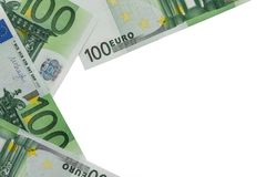 Background of banknotes in nominal value of one hundred euros. P stock photos