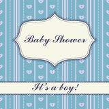 Background with banner baby shower boy vintage Stock Photography