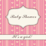 Background with banner baby shower girl vintage Stock Images