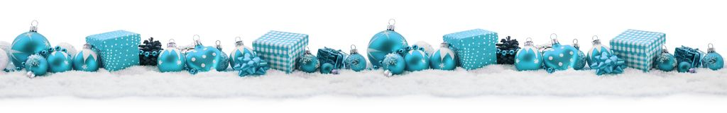 Background banner for christmas. In blue with gifts and decoration Royalty Free Stock Photos