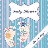 Background with banner and feet baby shower boy vintage Stock Photo