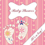 Background with banner and feet baby shower girl vintage Stock Image