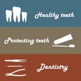 Background or banner, teeth, dental instruments, dental care. Stock Photo
