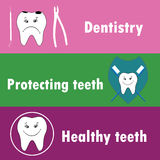 Background or banner, teeth, dental instruments, dental care.  Stock Photography