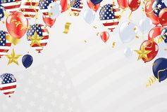Background banner for 4th july, Independence Day. USA celebratio. N the United States. Happy Birthday America. and flag patriotic illustration stock illustration
