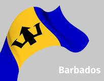 Background with Barbados wavy flag. On grey, vector illustration royalty free illustration