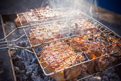 Background of barbecue steak Stock Images
