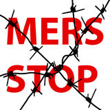 Background barbed wire Stop Mers Corona Virus sign.  Vector Illu Royalty Free Stock Image