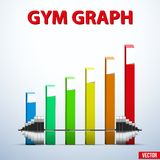 Background of barbell and diagram achieving Royalty Free Stock Image