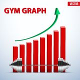 Background of barbell and diagram achieving Stock Image