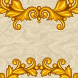 Background with baroque ornamental floral gold Royalty Free Stock Photos