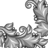 Background with baroque ornamental floral silver Stock Image