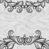 Background with baroque ornamental floral silver Royalty Free Stock Photography