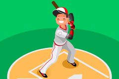 Baseball Vector Boy Mascot Poster. Background of baseball with vector mascotte. Sport poster with mlb player. 3d flat isometric people cartoon illustration Royalty Free Stock Photo