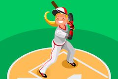 Baseball Vector Girl Mascot Poster. Background of baseball with vector mascotte. Sport poster with mlb player. 3d flat isometric people cartoon illustration Stock Images