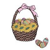 background basket easter eggs flowers taken white διάνυσμα στοκ εικόνες