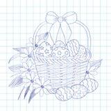 background basket easter eggs flowers taken white Στοκ Εικόνες