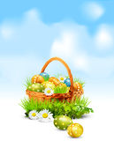 Background with a basket full Easter eggs Stock Images