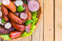 Background basket meat sausages meats Stock Image