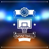 Background with basketball, ball, hoop and labels Royalty Free Stock Images