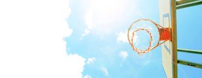 Background basketball hoop and sunshine blue sky nice Stock Photography