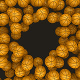 Background basketballs 3d rendering Royalty Free Stock Images