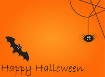 Background with bat and spider for Halloween Party night. Background with bat and spider on orange for Halloween Party night, vector illustration Royalty Free Stock Photo
