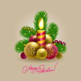 Background with baubles, christmas tree. Festive background with Christmas balls, candle, serpentine and fir branches for cards, invitations. Vector Royalty Free Stock Photos