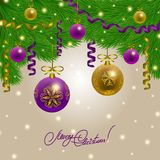 Background with baubles, christmas tree. Royalty Free Stock Photography