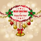 Background with baubles, christmas tree. Stock Photos