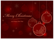 Background with baubles & text Stock Photography