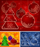 Background with baubles and tree Royalty Free Stock Images