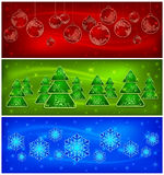 Background with baubles, trees, snowflakes Royalty Free Stock Image