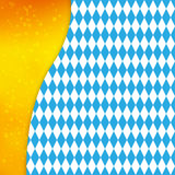 Background with Bavarian flag and silhouette of beer mug. Design for Oktoberfest or other festival. Royalty Free Stock Images