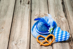 Background with Bavarian hat and heart Royalty Free Stock Photos