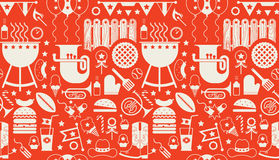 Background with BBQ symbols Stock Photos