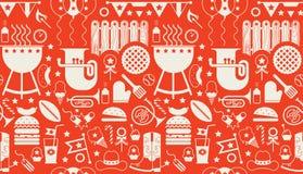 Background with BBQ symbols Stock Photos